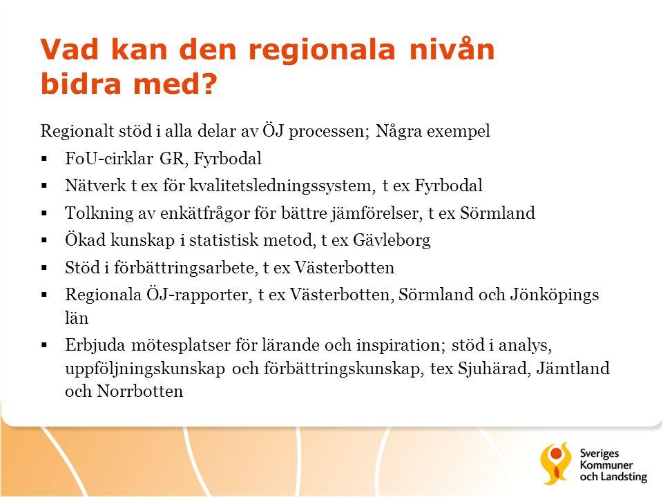 Vad kan den regionala nivån bidra med? Regionalt stöd i alla delar av ÖJ processen; Några exempel  FoU-cirklar GR, Fyrbodal  Nätverk t ex för kvalit