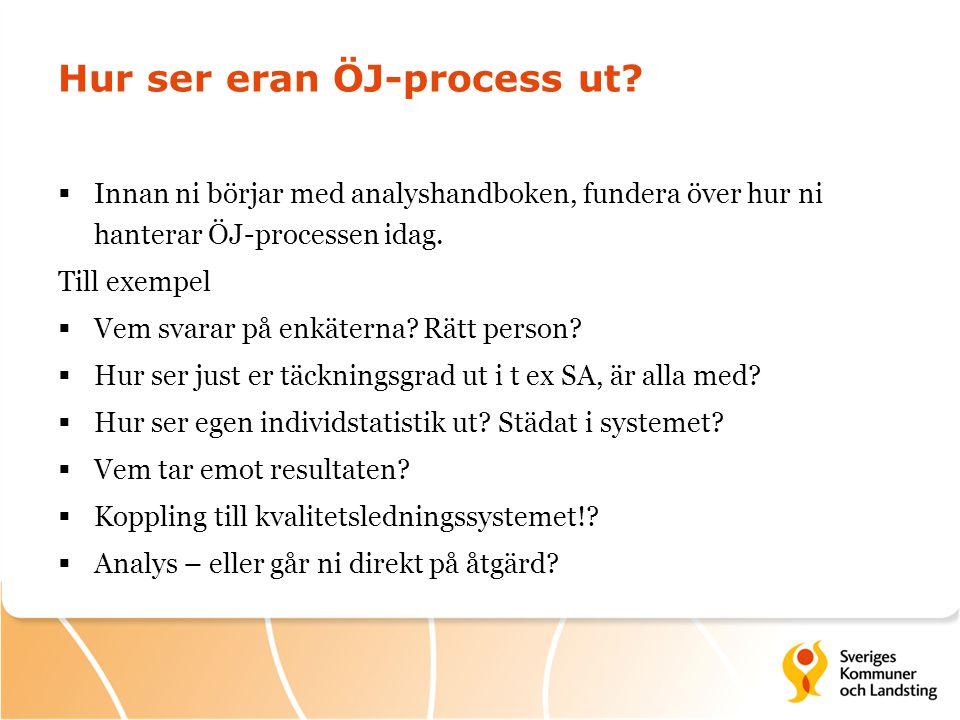 Hur ser eran ÖJ-process ut?  Innan ni börjar med analyshandboken, fundera över hur ni hanterar ÖJ-processen idag. Till exempel  Vem svarar på enkäte