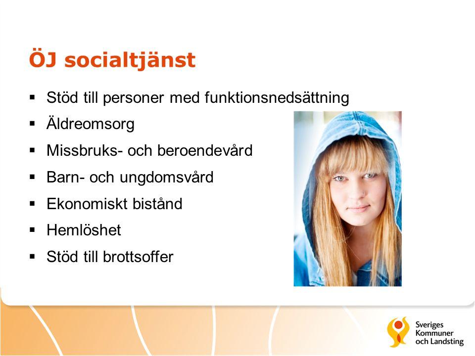 ÖJ socialtjänst  Stöd till personer med funktionsnedsättning  Äldreomsorg  Missbruks- och beroendevård  Barn- och ungdomsvård  Ekonomiskt bistånd