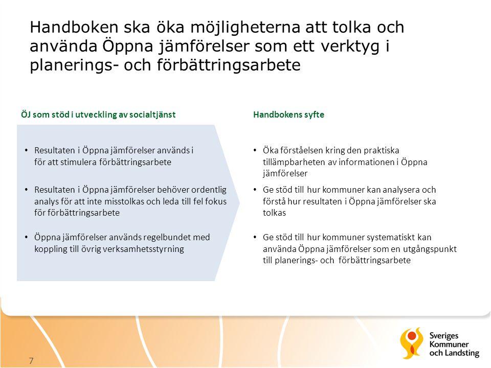 Handboken ska öka möjligheterna att tolka och använda Öppna jämförelser som ett verktyg i planerings- och förbättringsarbete 7 ÖJ som stöd i utvecklin