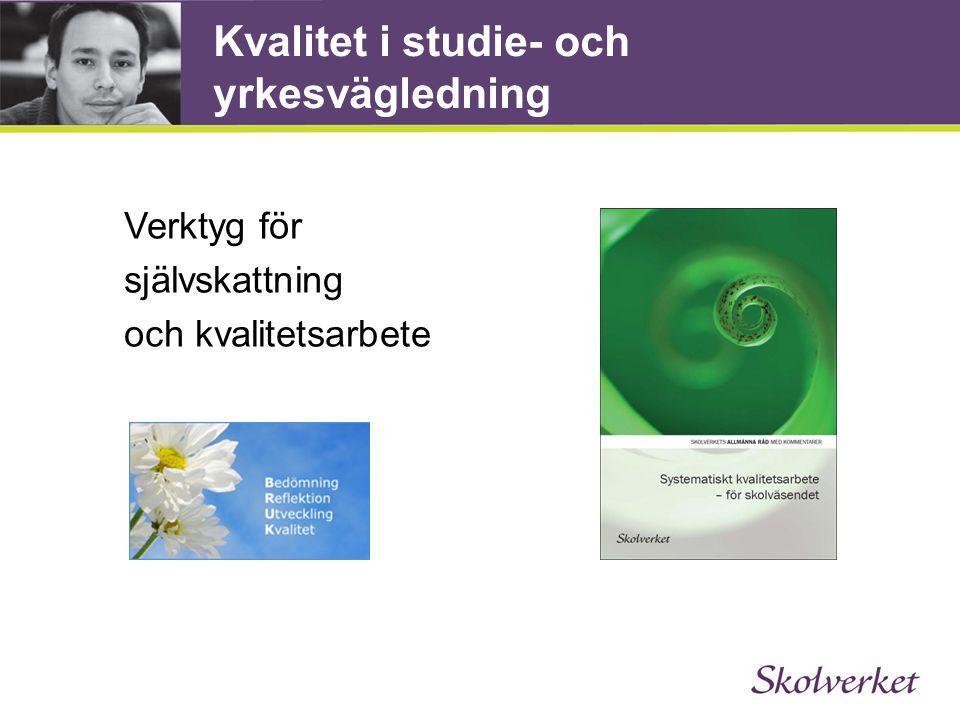 Kvalitet i studie- och yrkesvägledning Verktyg för självskattning och kvalitetsarbete www.skolverket.se