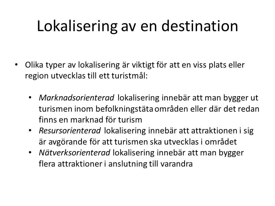 Lokalisering av en destination • Olika typer av lokalisering är viktigt för att en viss plats eller region utvecklas till ett turistmål: • Marknadsori