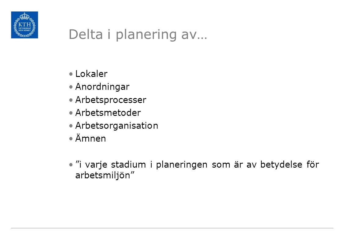 """Delta i planering av… •Lokaler •Anordningar •Arbetsprocesser •Arbetsmetoder •Arbetsorganisation •Ämnen •""""i varje stadium i planeringen som är av betyd"""
