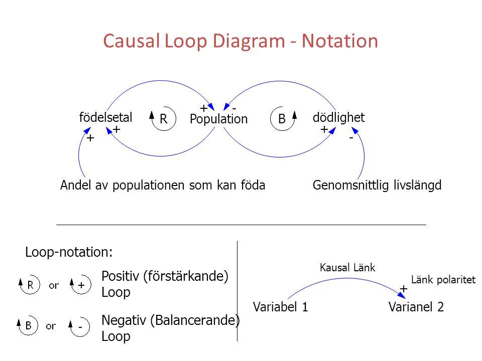 Causal Loop Diagram - Notation Population dödlighet Andel av populationen som kan föda Genomsnittlig livslängd + - ++ -+ RB Variabel 1Varianel 2 + Länk polaritet Kausal Länk Loop-notation: Positiv (förstärkande) Loop Negativ (Balancerande) Loop födelsetal