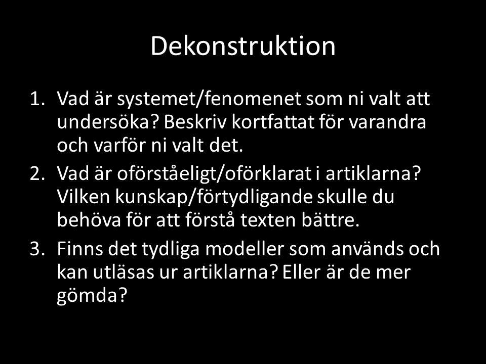 Dekonstruktion 1.Vad är systemet/fenomenet som ni valt att undersöka.