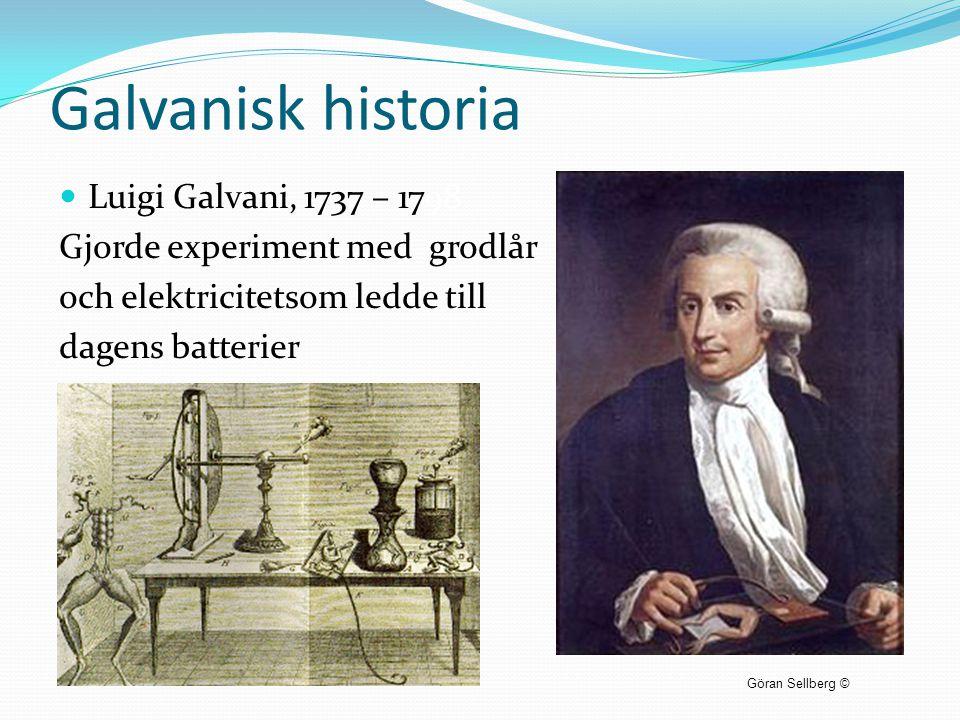 Galvanisk historia  Luigi Galvani, 1737 – 1798 Gjorde experiment med grodlår och elektricitetsom ledde till dagens batterier Göran Sellberg ©