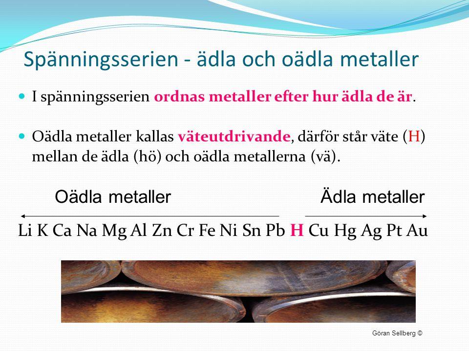 Spänningsserien - ädla och oädla metaller  I spänningsserien ordnas metaller efter hur ädla de är.  Oädla metaller kallas väteutdrivande, därför stå