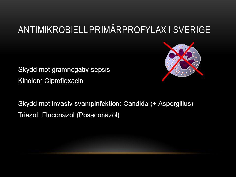 ANTIMIKROBIELL PRIMÄRPROFYLAX I SVERIGE Skydd mot gramnegativ sepsis Kinolon: Ciprofloxacin Skydd mot invasiv svampinfektion: Candida (+ Aspergillus)