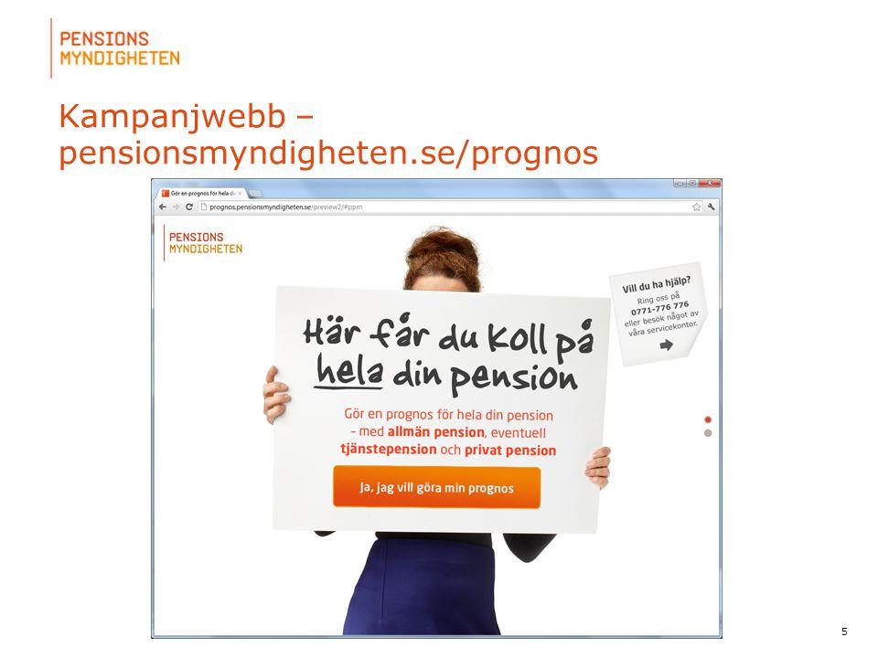 För att uppdatera sidfotstexten, gå till menyfliken: Infoga | Sidhuvud och sidfot. 5 Prognos till alla Kampanjwebb – pensionsmyndigheten.se/prognos