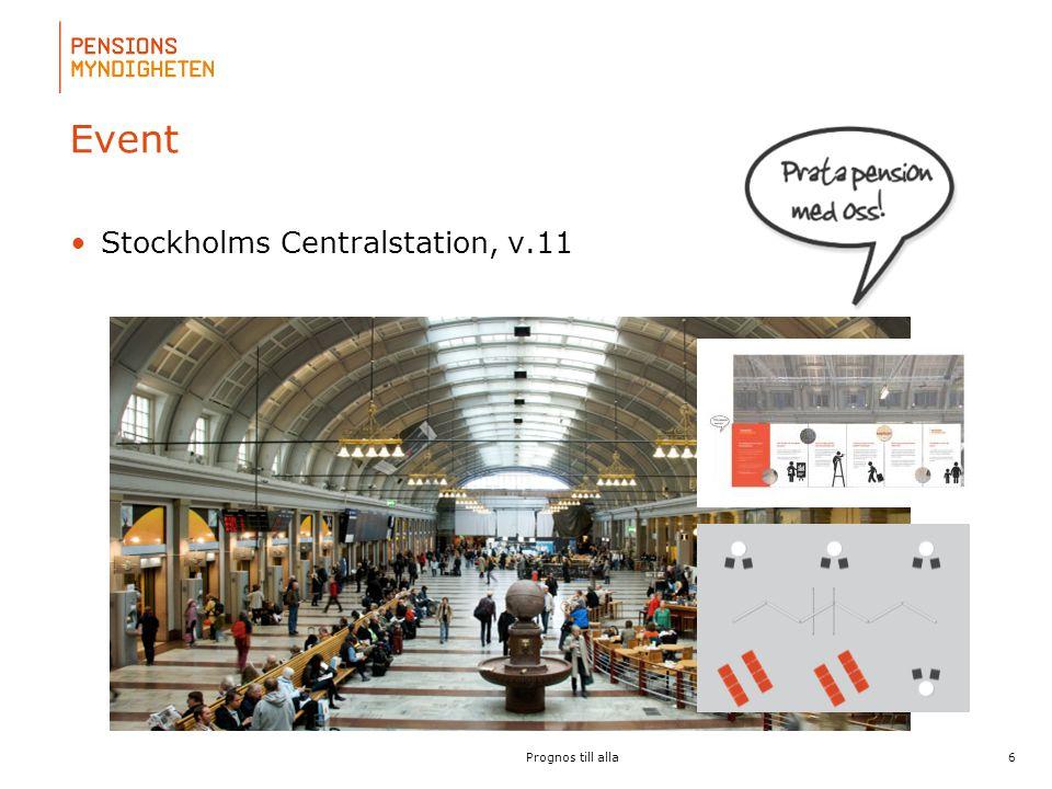 För att uppdatera sidfotstexten, gå till menyfliken: Infoga | Sidhuvud och sidfot. Event •Stockholms Centralstation, v.11 6 Prognos till alla