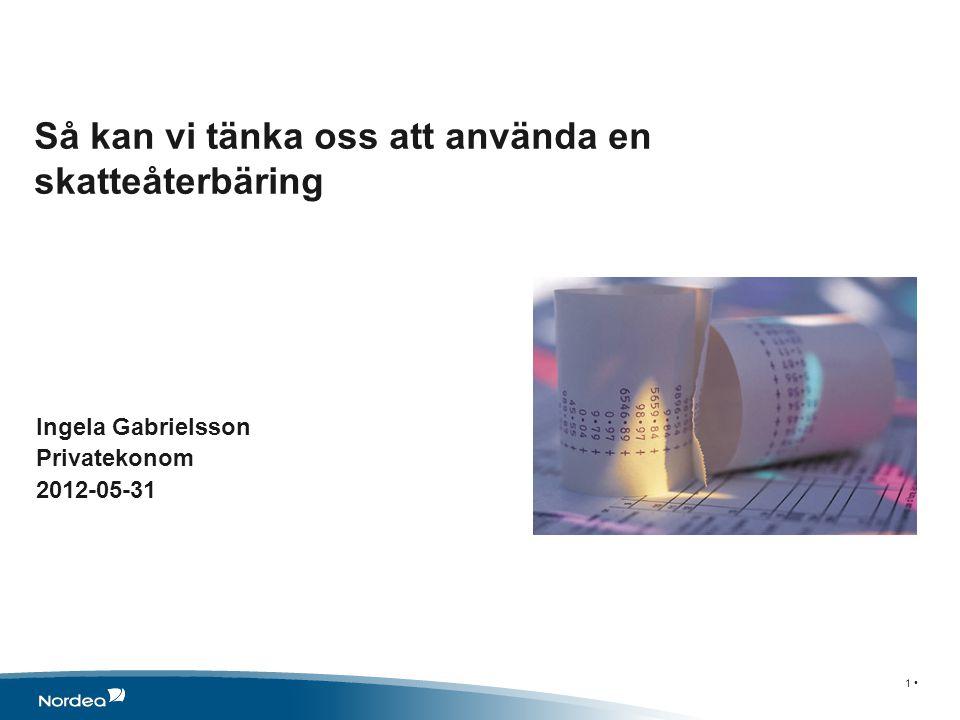 Så kan vi tänka oss att använda en skatteåterbäring 1 • Ingela Gabrielsson Privatekonom 2012-05-31