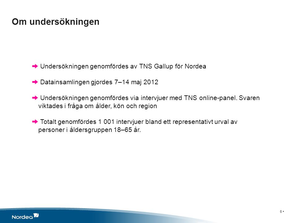 Om undersökningen 6 • Undersökningen genomfördes av TNS Gallup för Nordea Datainsamlingen gjordes 7–14 maj 2012 Undersökningen genomfördes via intervjuer med TNS online-panel.