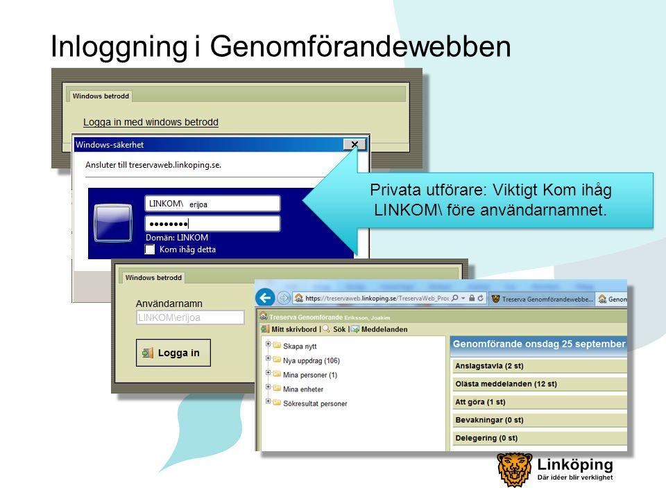 Inloggning i Genomförandewebben Privata utförare: Viktigt Kom ihåg LINKOM\ före användarnamnet.