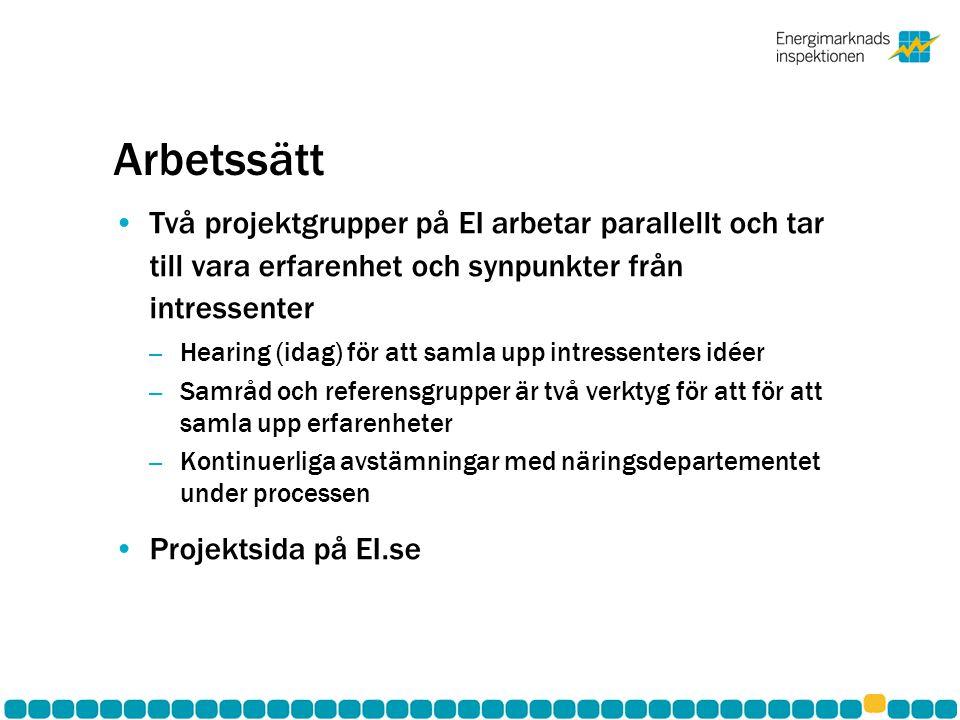 Arbetssätt •Två projektgrupper på EI arbetar parallellt och tar till vara erfarenhet och synpunkter från intressenter – Hearing (idag) för att samla upp intressenters idéer – Samråd och referensgrupper är två verktyg för att för att samla upp erfarenheter – Kontinuerliga avstämningar med näringsdepartementet under processen •Projektsida på EI.se