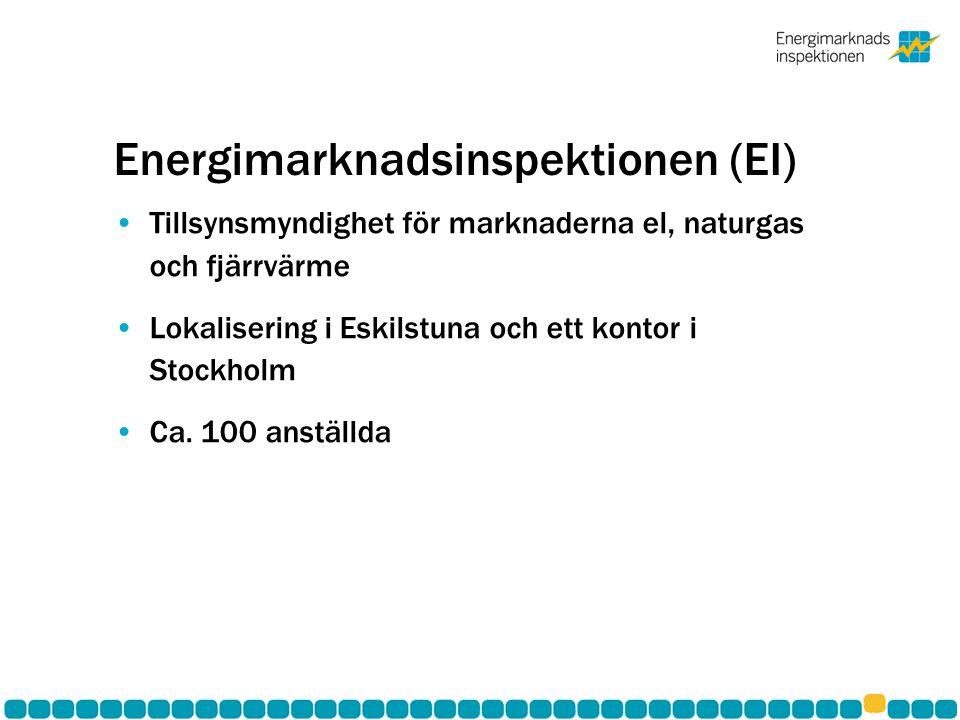 Energimarknadsinspektionen (EI) •Tillsynsmyndighet för marknaderna el, naturgas och fjärrvärme •Lokalisering i Eskilstuna och ett kontor i Stockholm •Ca.