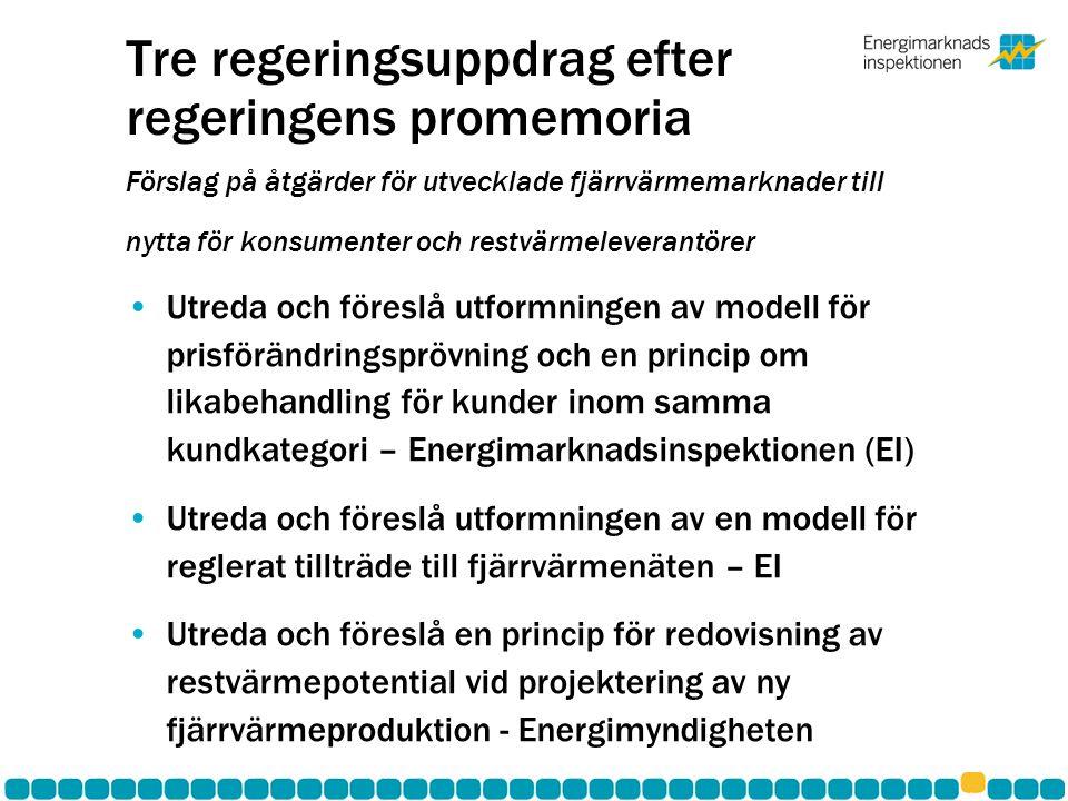 Tre regeringsuppdrag efter regeringens promemoria Förslag på åtgärder för utvecklade fjärrvärmemarknader till nytta för konsumenter och restvärmeleverantörer •Utreda och föreslå utformningen av modell för prisförändringsprövning och en princip om likabehandling för kunder inom samma kundkategori – Energimarknadsinspektionen (EI) •Utreda och föreslå utformningen av en modell för reglerat tillträde till fjärrvärmenäten – EI •Utreda och föreslå en princip för redovisning av restvärmepotential vid projektering av ny fjärrvärmeproduktion - Energimyndigheten