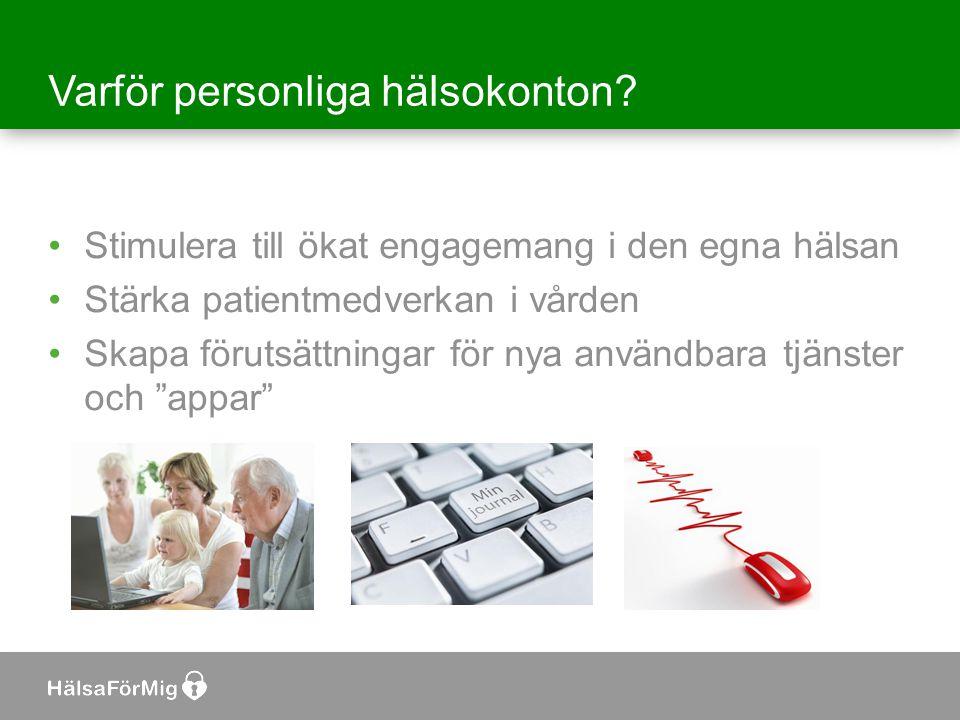 Varför personliga hälsokonton? •Stimulera till ökat engagemang i den egna hälsan •Stärka patientmedverkan i vården •Skapa förutsättningar för nya anvä