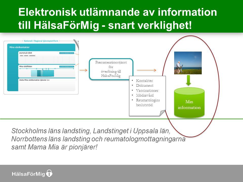 Elektronisk utlämnande av information till HälsaFörMig - snart verklighet! Min information Prenumerationstjänst för överföring till HälsaFörMig Prenum