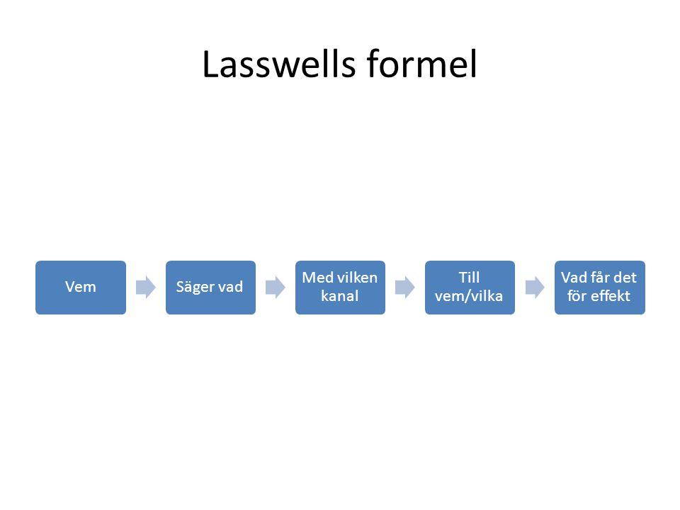 Lasswells formel …eller begreppet sändare används ofta vagt och tenderar att bli mångtydigt.