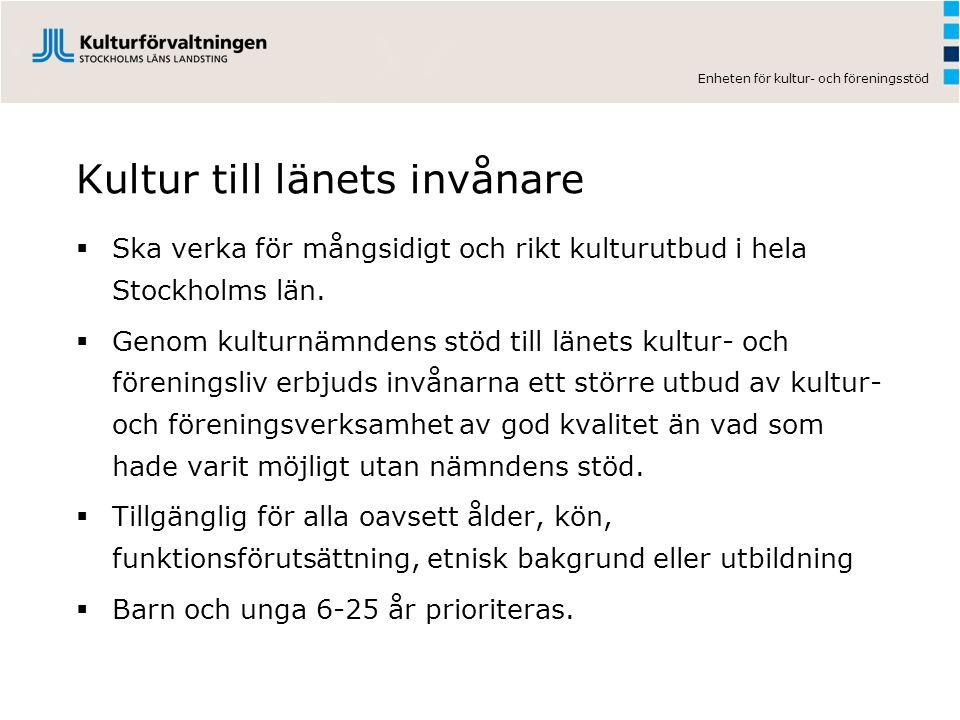 Enheten för kultur- och föreningsstöd Kultur till länets invånare  Ska verka för mångsidigt och rikt kulturutbud i hela Stockholms län.  Genom kultu