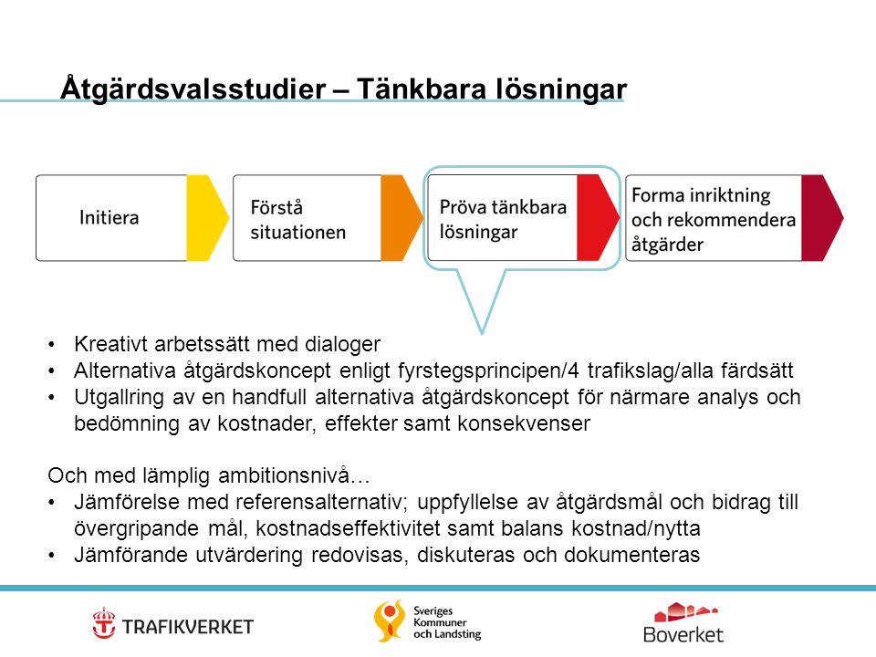 16 Åtgärdsvalsstudier – Tänkbara lösningar •Kreativt arbetssätt med dialoger •Alternativa åtgärdskoncept enligt fyrstegsprincipen/4 trafikslag/alla fä