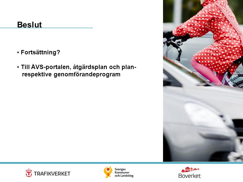 18 • Fortsättning? • Till ÅVS-portalen, åtgärdsplan och plan- respektive genomförandeprogram Beslut