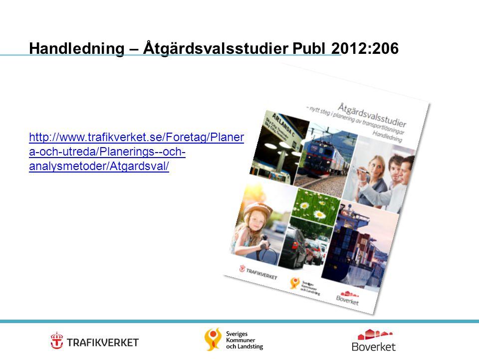 21 Handledning – Åtgärdsvalsstudier Publ 2012:206 http://www.trafikverket.se/Foretag/Planer a-och-utreda/Planerings--och- analysmetoder/Atgardsval/