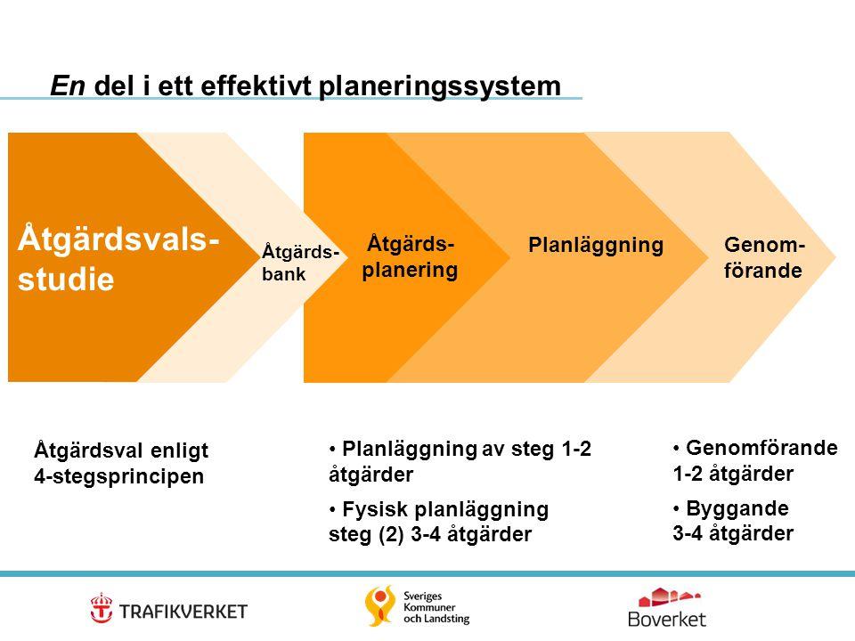 6 Åtgärdsval enligt 4-stegsprincipen • Genomförande 1-2 åtgärder • Byggande 3-4 åtgärder • Planläggning av steg 1-2 åtgärder • Fysisk planläggning ste