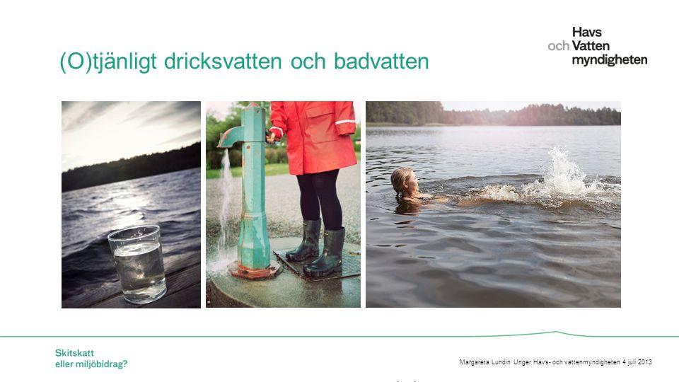 För att ändra/uppdatera/ta bort Presentationsnamn och Namn i foten, gå in på Infoga - Sidhuvud/sidfot (O)tjänligt dricksvatten och badvatten Margareta Lundin Unger Havs- och vattenmyndigheten 4 juli 2013