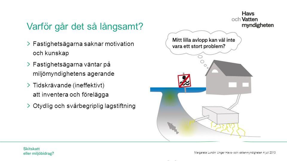 För att ändra/uppdatera/ta bort Presentationsnamn och Namn i foten, gå in på Infoga - Sidhuvud/sidfot HaVs förslag för en Hållbar åtgärdstakt Tydligare och bindande regler Avgiftssystem med återföring i form av bidrag (som ett alternativ till skitskatt ) Avloppsdeklaration (röd, grön, gul) Dock inte statliga bidrag till fastighetsägare Margareta Lundin Unger Havs- och vattenmyndigheten 4 juli 2013