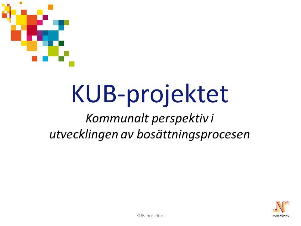 KUB-projektet KUB-projektet Kommunalt perspektiv i utvecklingen av bosättningsprocesen