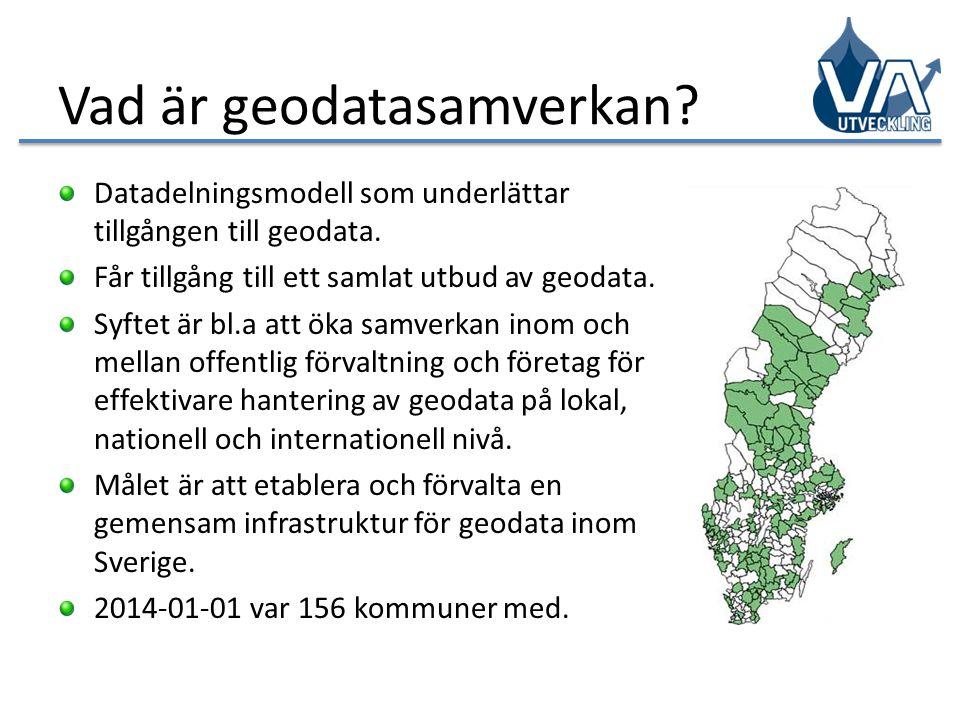 Vad är geodatasamverkan? Datadelningsmodell som underlättar tillgången till geodata. Får tillgång till ett samlat utbud av geodata. Syftet är bl.a att