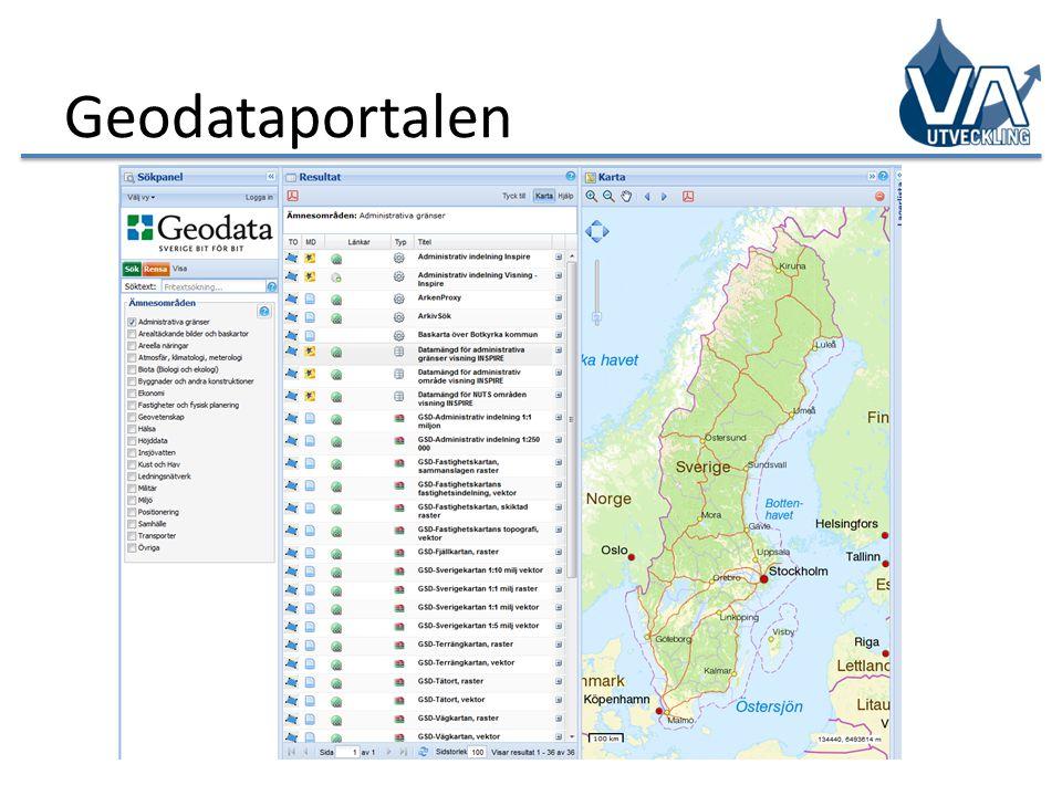 Geodataportalen visar vilka geodata som finns tillgängliga i infrastrukturen för geodata och vem som är ansvarig för dessa.