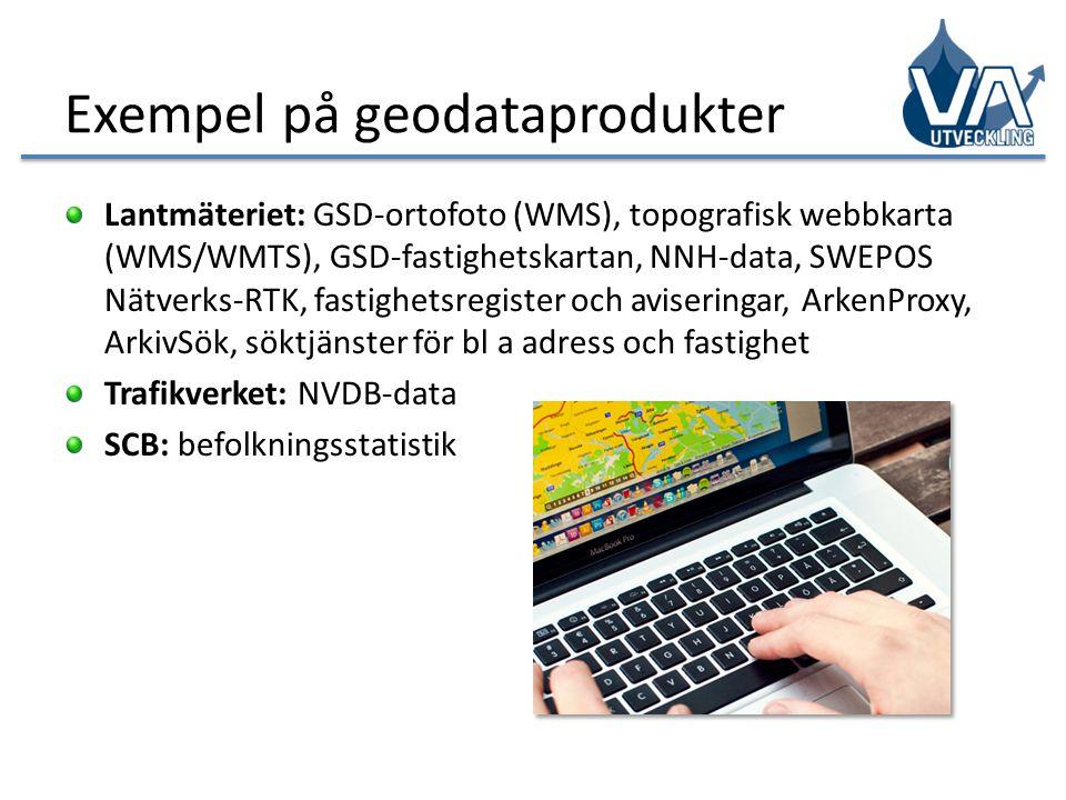 Exempel på geodataprodukter Lantmäteriet: GSD-ortofoto (WMS), topografisk webbkarta (WMS/WMTS), GSD-fastighetskartan, NNH-data, SWEPOS Nätverks-RTK, f