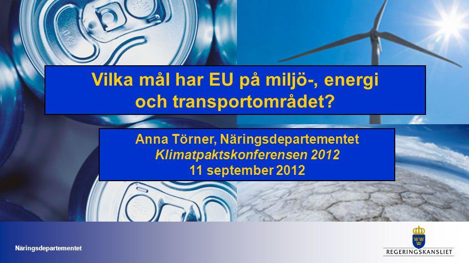 Vilka mål har EU på miljö-, energi och transportområdet? Anna Törner, Näringsdepartementet Klimatpaktskonferensen 2012 11 september 2012 Näringsdepart