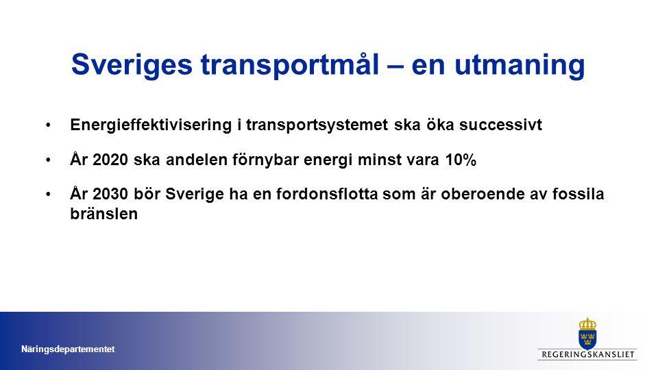 Sveriges transportmål – en utmaning •Energieffektivisering i transportsystemet ska öka successivt •År 2020 ska andelen förnybar energi minst vara 10%