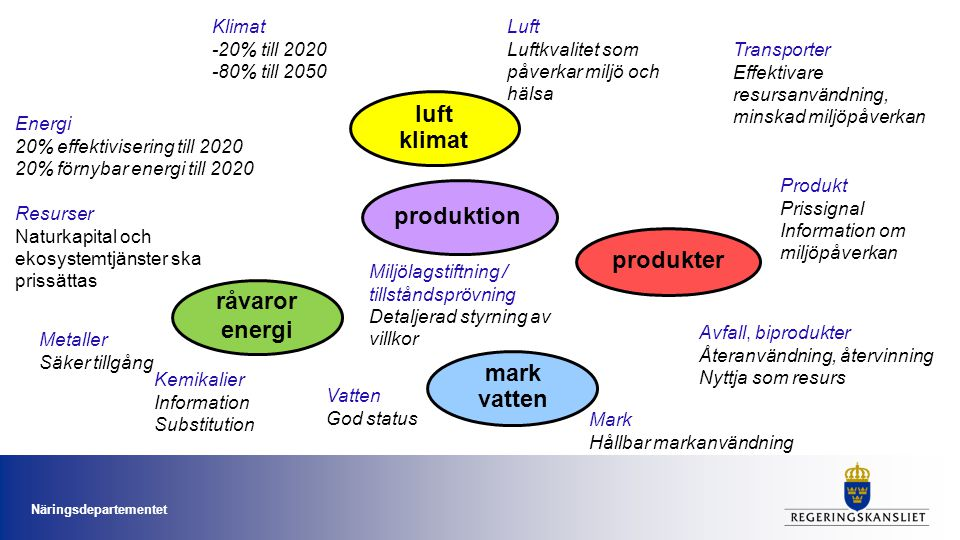 Vatten God status Metaller Säker tillgång Kemikalier Information Substitution Resurser Naturkapital och ekosystemtjänster ska prissättas Energi 20% ef