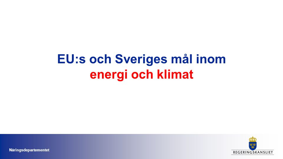 EU:s energi- och klimatmålsättningar: 20-20-20-10 till år 2020 •20% minskade utsläpp av växthusgaser till år 2020 •20% andel förnybar energi av all energianvändningen år 2020 •10% förnybar energi (inklusive hållbara biodrivmedel och förnybar el) av den totala drivmedelsanvändningen inom transportsektorn senast år 2020 •20% energibesparing jämfört en prognosticerad energianvändning 2020 Näringsdepartementet
