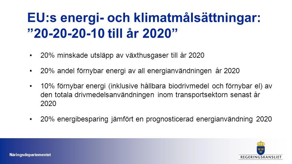 Sveriges energi- och klimatmål 2050 •Sveriges Riksdag tog sommaren 2009 beslut om att fossila energikällor ska avvecklas •Visionen är att nettoutsläppen av klimatgaser helt upphör vid mitten av seklet Näringsdepartementet