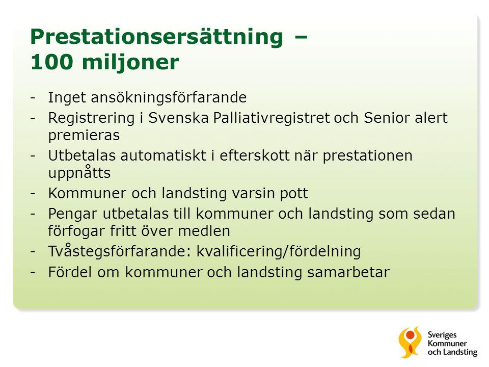 Svenska palliativregistret – 50 miljoner Mål – Deltagande i Svenska Palliativregistret 40 miljoner kronor fördelas till de kommuner och landsting som registrerar 40 % eller fler av dödsfallen i Svenska Palliativregistret.
