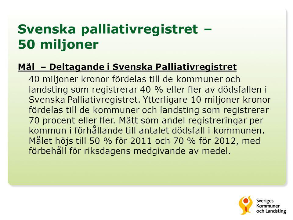 Svenska palliativregistret 40+10 miljoner -Mätperiod: Oktober – december 2010 -Skilda potter till kommuner och landsting -De som kvalificerat sig till 40 resp 10 miljoner får dela på pengarna utifrån befolkningens storlek