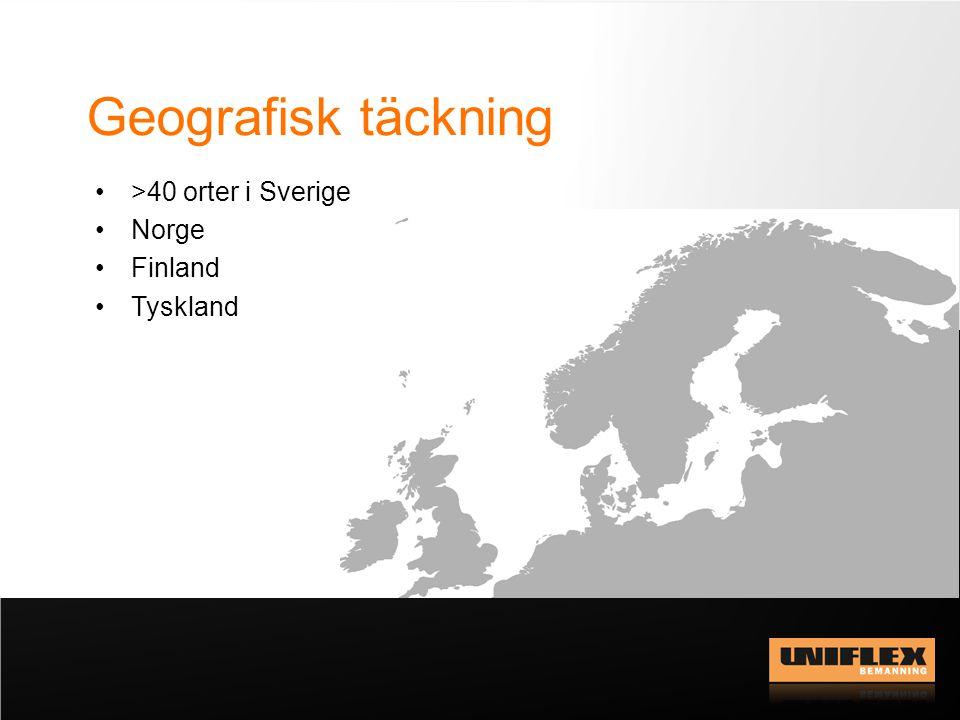 Bemanningsbranschen 2012 Storlek och penetrationsgrad i de länder Uniflex är verksamt Källa: Bemanningsföretagen SverigeNorgeFinlandTyskland Omsättning21 mdkr 14,0 mdkr*10,8 mdkr*160 mdkr* Penetrationsgrad1,3 %1,0 %*1,2 %*2,0%* *2011