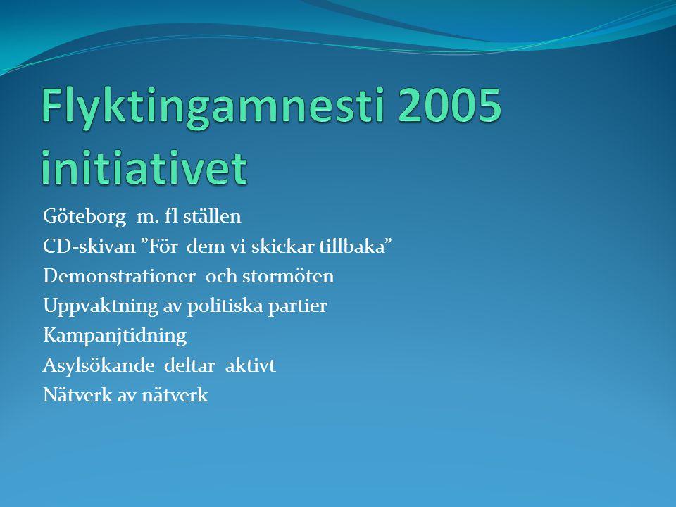 """Göteborg m. fl ställen CD-skivan """"För dem vi skickar tillbaka"""" Demonstrationer och stormöten Uppvaktning av politiska partier Kampanjtidning Asylsökan"""