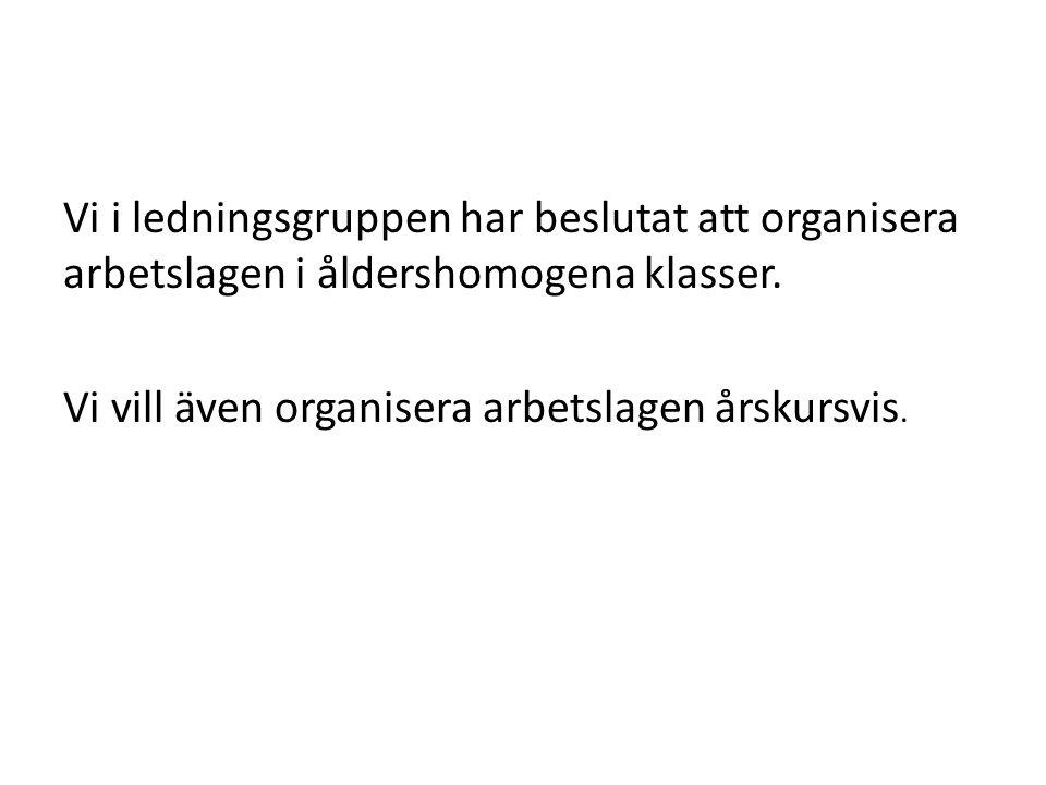 Vi i ledningsgruppen har beslutat att organisera arbetslagen i åldershomogena klasser. Vi vill även organisera arbetslagen årskursvis.