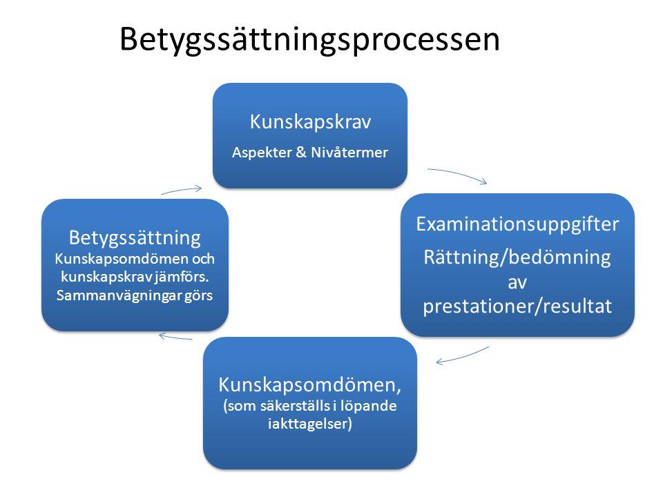 Betygssättningsprocessen Kunskapskrav Aspekter & Nivåtermer Examinationsuppgifter Rättning/bedömning av prestationer/resultat Kunskapsomdömen, (som sä