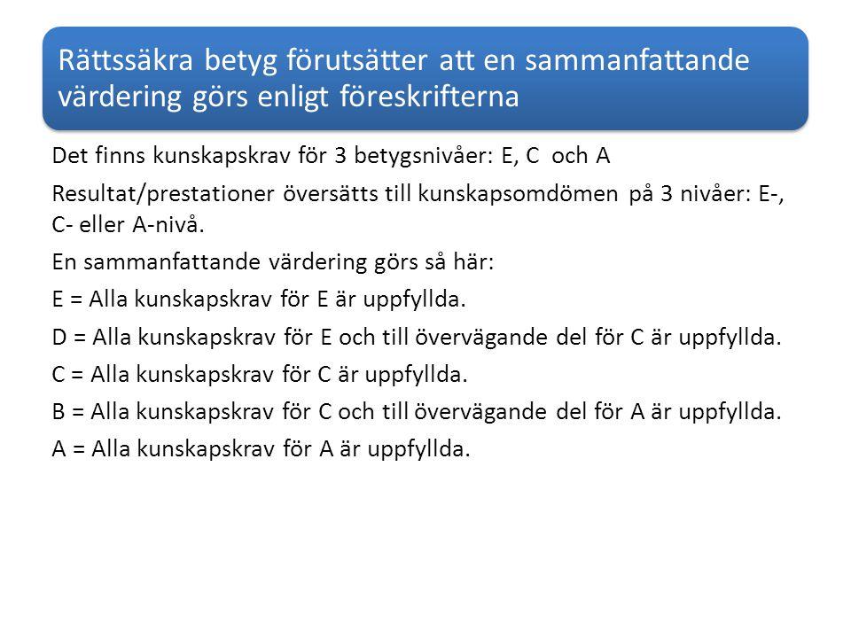 Rättssäkra betyg förutsätter att en sammanfattande värdering görs enligt föreskrifterna Det finns kunskapskrav för 3 betygsnivåer: E, C och A Resultat