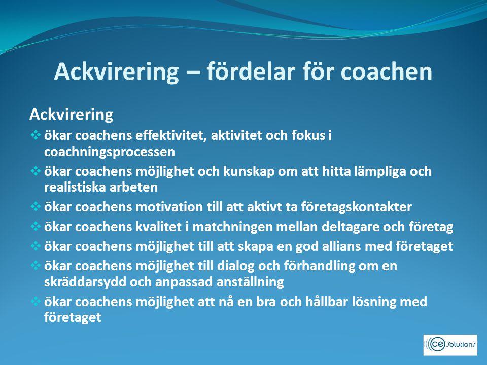 Ackvirering – fördelar för coachen Ackvirering  ökar coachens effektivitet, aktivitet och fokus i coachningsprocessen  ökar coachens möjlighet och kunskap om att hitta lämpliga och realistiska arbeten  ökar coachens motivation till att aktivt ta företagskontakter  ökar coachens kvalitet i matchningen mellan deltagare och företag  ökar coachens möjlighet till att skapa en god allians med företaget  ökar coachens möjlighet till dialog och förhandling om en skräddarsydd och anpassad anställning  ökar coachens möjlighet att nå en bra och hållbar lösning med företaget