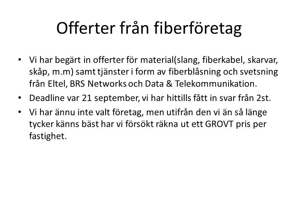 Offerter från fiberföretag • Vi har begärt in offerter för material(slang, fiberkabel, skarvar, skåp, m.m) samt tjänster i form av fiberblåsning och s