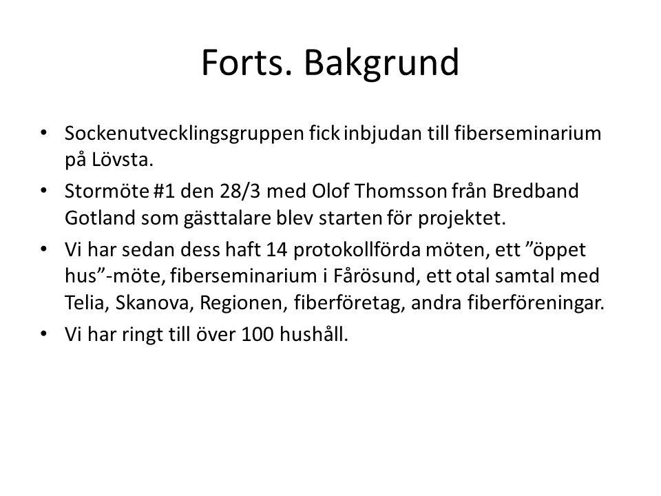 Forts. Bakgrund • Sockenutvecklingsgruppen fick inbjudan till fiberseminarium på Lövsta. • Stormöte #1 den 28/3 med Olof Thomsson från Bredband Gotlan