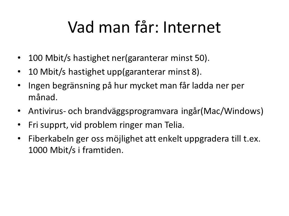 Vad man får: Internet • 100 Mbit/s hastighet ner(garanterar minst 50). • 10 Mbit/s hastighet upp(garanterar minst 8). • Ingen begränsning på hur mycke